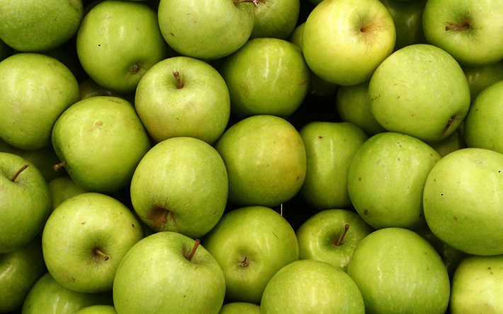 green apples, fruit, apple background, ripe apples, apple texture