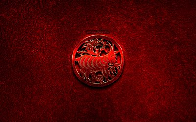 Sheep, Goat, Chinese zodiac, red metal signs, creative, Chinese calendar, Goat zodiac sign, red stone background, Chinese Zodiac Signs, Goat zodiac