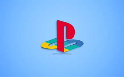 PlayStation, ロゴ, PS4, 青色の背景, 3Dロゴ, ゲームコンソール