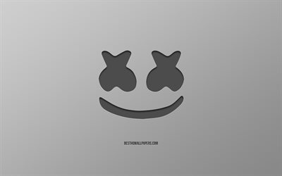 Marshmello, logo, creative art, gray background, american dj, emblem, Marshmello logo, Christopher Comstock
