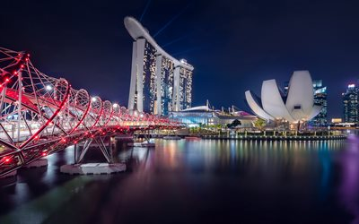 Singapore, Helix Bridge, pedestrian bridge, night, Marina Bay Sands, luxury hotel