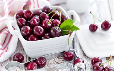 cherry, ripe berries, cherries in a white plate, fruit, wooden background