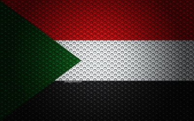 Flag of Sudan, 4k, creative art, metal mesh texture, Sudan flag, national symbol, Sudan, Africa, flags of African countries
