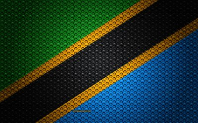 Flag of Tanzania, 4k, creative art, metal mesh texture, Tanzania flag, national symbol, Tanzania, Africa, flags of African countries
