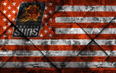 Phoenix Suns, 4k, American basketball club, grunge art, rhombus grunge texture, American flag, NBA, Phoenix, Arizona, USA, National Basketball Association, USA flag, basketball