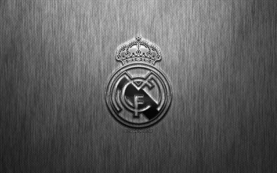 Real Madrid, Spanish football club, steel logo, emblem, gray metal background, Madrid, Spain, La Liga, football, Real Madrid CF