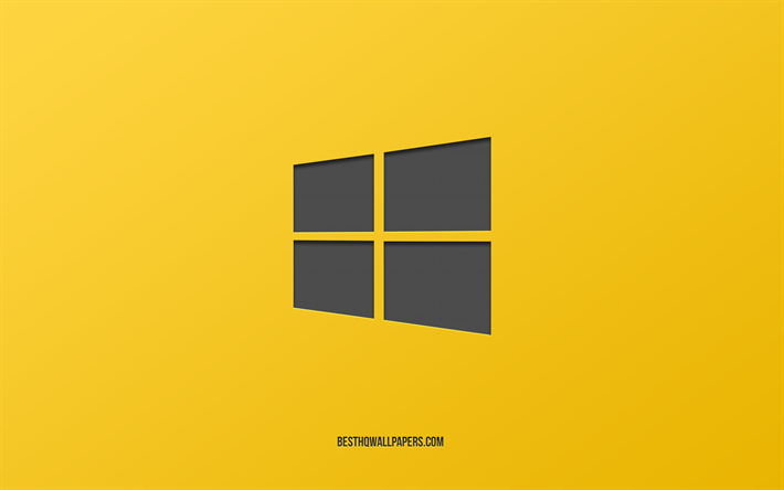 Download Wallpapers Windows 10 Emblem Yellow Background