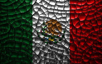 Flag of Mexico, 4k, cracked soil, North America, Mexican flag, 3D art, Mexico, North American countries, national symbols, Mexico 3D flag