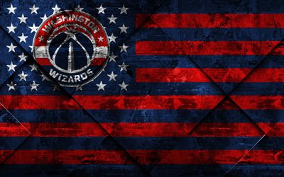 washington wizards, 4k, american basketball club, grunge, kunst, grunge-textur, american flag, nba, washington, usa, die national basketball association, usa flag, basketball