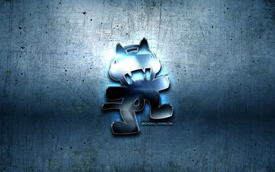 Monstercat metal logo, blue metal background, OS, artwork, Monstercat, brands, Monstercat 3D logo, creative, Monstercat logo, Monstercat Media