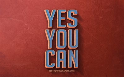 Yes You can, retro style, motivation, inspiration, red retro background