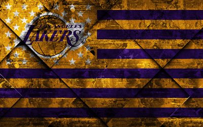 Los Angeles Lakers, 4k, American basketball club, grunge art, rhombus grunge texture, American flag, NBA, Los Angeles, California, USA, National Basketball Association, USA flag, basketball