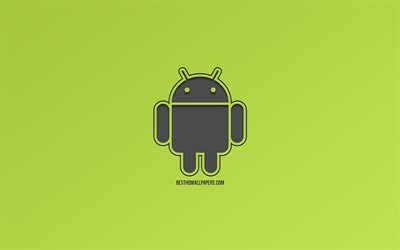 Android, logo, creative art, green background, robot logo, Android logo, operating system
