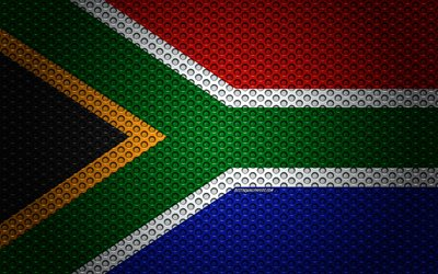 Flag of South Africa, 4k, creative art, metal mesh texture, South Africa flag, national symbol, South Africa, Africa, flags of African countries