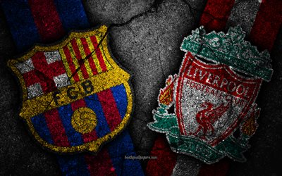 Barcelona vs Liverpool, UEFA Champions League, semifinals, creative, Barcelona FC, Liverpool FC, black stone, FC Barcelona vs Liverpool FC, semi-finals, UEFA, FCB