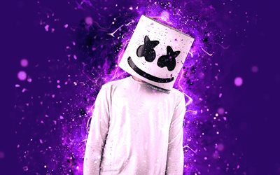 4k, DJ Marshmello, violet neon, american DJ, Christopher Comstock, fan art, superstars, neon lights, DJs