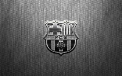 FC Barcelona, Catalan football club, steel logo, emblem, gray metal background, Barcelona, Catalonia, Spain, La Liga, football, Spanish football club