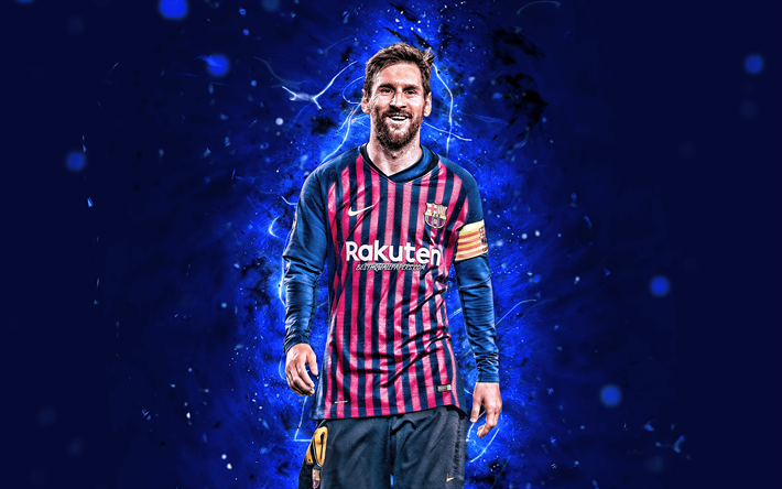 Download Wallpapers 4k Messi Barcelona Fc Joy Argentinian Footballers Fcb La Liga Lionel Messi Leo Messi Neon Lights Football Stars Laliga Barca Soccer Spain For Desktop Free Pictures For Desktop Free
