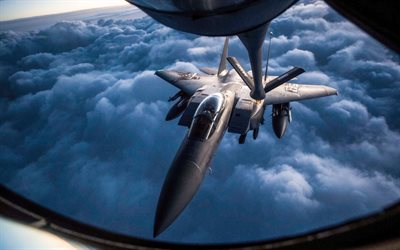 McDonnell Douglas F-15E Strike Eagle, US Air Force, fighter, air refueling, Boeing KC-135 Stratotanker, combat aircraft, Boeing, McDonnell Douglas