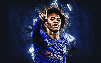 Willian, Chelsea FC, footballeur Brésilien, portrait, bleu, créatif, fond, football, Premier League, Angleterre, Willian Borges da Silva