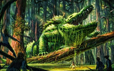 crocodile, monster, people, fairy forest, battle, artwork