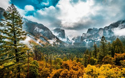 yosemite valley, felsen, berglandschaft, wald, nebel, berge, tal, yosemite national park, sierra nevada, usa