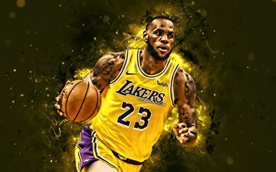 4k, LeBron James, 2020, NBA, Los Angeles Lakers, yellow uniform, basketball stars, LeBron Raymone James Sr, neon lights, basketball, LA Lakers, LeBron James 4K, creative, LeBron James Lakers