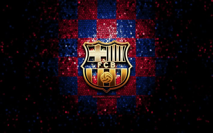 download wallpapers fc barcelona glitter logo la liga blue purple checkered background soccer barcelona fc spanish football club barcelona logo mosaic art football laliga spain fcb for desktop free pictures for desktop wallpapers fc barcelona glitter logo