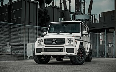 Mercedes-AMG G63, 2018, White G63, luxury SUV, tuning, front view, exterior, W463, Mercedes