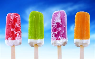 Ice Cream, 4k, summer, close-up, ice lolly