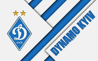FC Dynamo Kyiv, 4k, material design, logo, art, emblem, Ukrainian football club, white blue abstraction, UPL, Kiev, Ukraine, football, Ukrainian Premier League