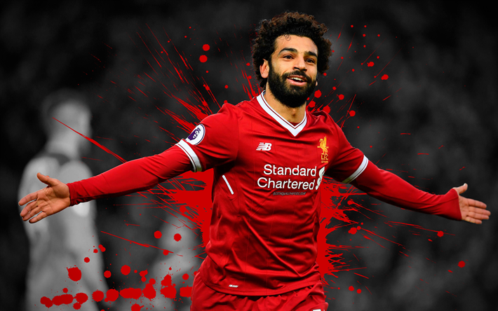 4k, Mohamed Salah, grunge, football stars, Liverpool, Salah, soccer, joy, Premier League, artwork, footballers, FC Liverpool