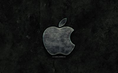 Apple stone logo, black stone background, Apple, creative, grunge, Apple logo, brands