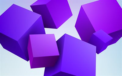 violet 3D cubes, 4k, geometry, 3D art, geometric shapes, cubes