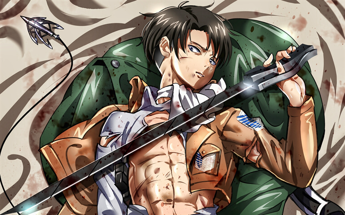 4k, Levi Ackerman, sword, Attack on Titan, artwork, manga, Shingeki No Kyojin, Attack on Titan characters