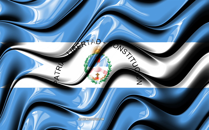 Corrientes flag, 4k, Provinces of Argentina, administrative districts, Flag of Corrientes, 3D art, Corrientes, argentinian provinces, Corrientes 3D flag, Argentina, South America