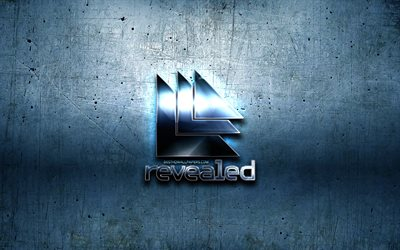 Revealed Recordings metal logo, music labels, blue metal background, artwork, Revealed Recordings, brands, Revealed Recordings 3D logo, creative, Revealed Recordings logo