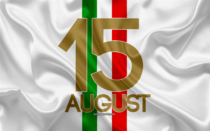 Ferragosto, August 15, italian national holiday, flag of Italy, silk texture, silk flag, Italy, 15 August