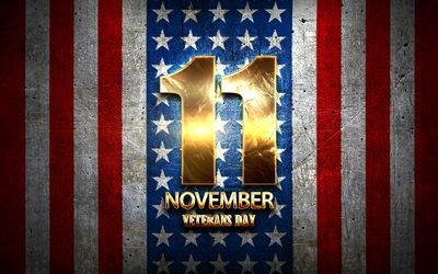 Veterans Day, November 11, golden signs, american national holidays, USA, US public holidays, America