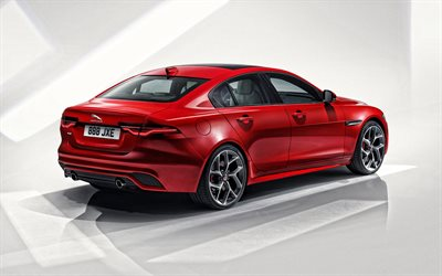 2020, Jaguar XE, rear view, red sedan, new red XE, British cars, Jaguar