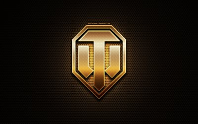 World of Tanks glitter logo, creative, WoT, metal grid background, World of Tanks logo, brands, World of Tanks