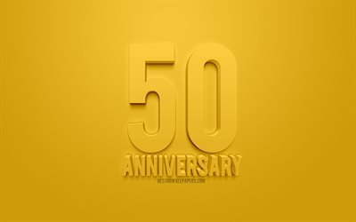 50 anniversary concepts, yellow background, yellow 3d art, anniversary concepts, 50th anniversary, congratulations