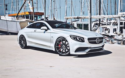Mercedes-Benz S63 AMG Coupe, supercars, C217, 2019 cars, pier, german cars, Mercedes