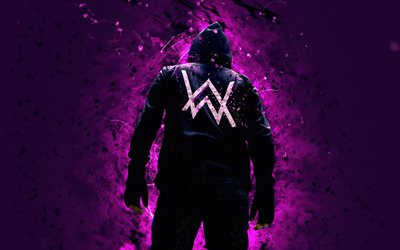 Alan Walker, 4k, musik stjärnor, lila neon lights, superstars, DJ Alan Walker, baksida, Dj: s, fan art, Alan Olav Walker, Alan Walker 4K