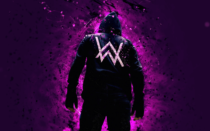 Alan Walker, 4k, la música, las estrellas, violeta, luces de neón, las superestrellas, DJ Alan Walker, vista posterior, DJs, fan art, Campo de Olav Walker, Alan Walker 4K