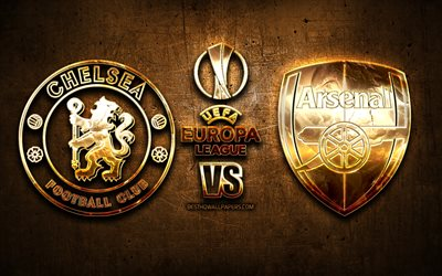Chelsea vs Arsenal, golden logo, 2019 UEFA Europa League Final, 29 May 2019, brown metal background, Chelsea FC, Arsenal FC, creative, UEFA Europa League, Final, UEFA, Chelsea FC vs Arsenal FC