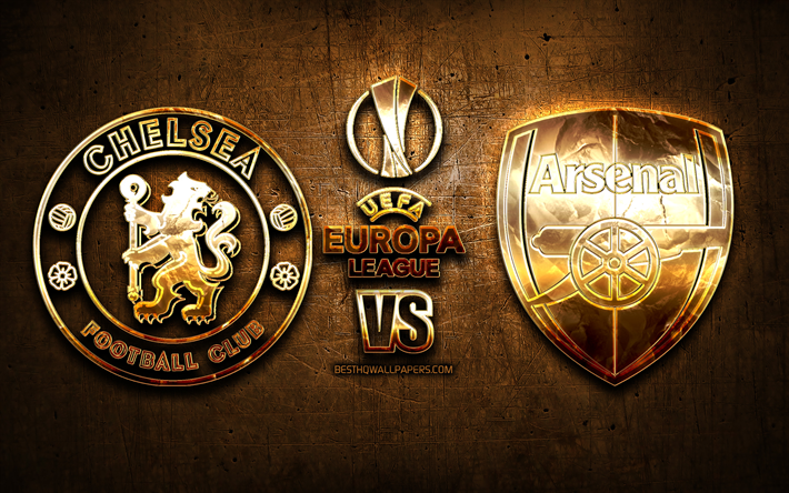 Chelsea vs Arsenal, de oro logotipo de 2019 de la UEFA Europa League, 29 de Mayo de 2019, marrón metal de fondo, el Chelsea FC, Arsenal FC, creativo, de la UEFA Europa League, en la Final, la UEFA, el Chelsea FC vs Arsenal FC