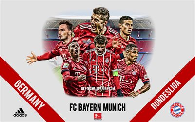 FC Bayern Munich, German football club, football players, leaders, Bayern Munich logo, emblem, Bundesliga, Munich, Germany, creative art, football, James Rodriguez, Robert Lewandowski, Thomas Muller