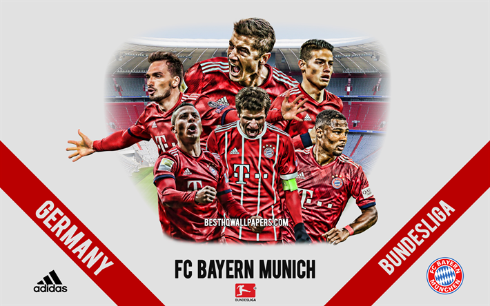 FC Bayern Monaco, squadra di calcio tedesca, i calciatori, i dirigenti, il Bayern Monaco, logo, stemma, Bundesliga, Monaco di baviera, in Germania, creativo, arte, calcio, James Rodriguez, Robert Lewandowski, Thomas Muller