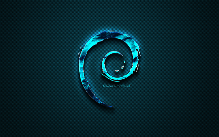 Debian blue logo, creative blue art, Debian emblem, dark blue background, Debian, logo, brands